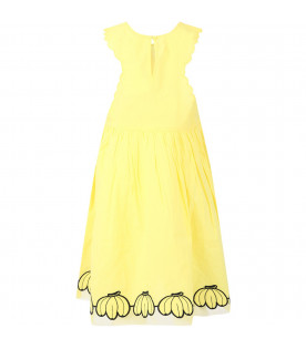 STELLA MCCARTNEY KIDS Yellow girl dress with bananas