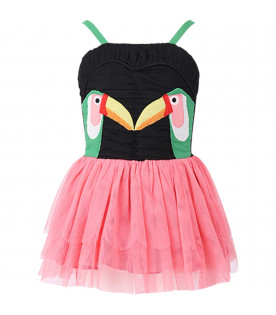 STELLA MCCARTNEY KIDS Colorful girl dress with toucan