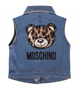 MOSCHINO KIDS Denim babygirl vest with spotted Teddy Bear