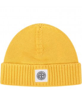 STONE ISLAND JUNIOR Yellow boy hat with iconic patch