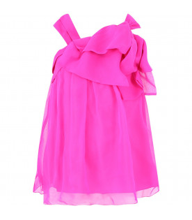LITTLE MARC JACOBS Fucshia girl dress with black logo