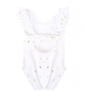 CHLOÉ KIDS White babygirl swimsuit with gold horses