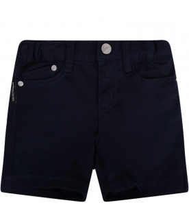 ARMANI JUNIOR   Blue babyboy short with metallic iconic logo