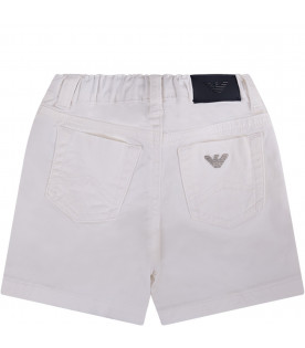 ARMANI JUNIOR   White babyboy short with metallic iconic logo