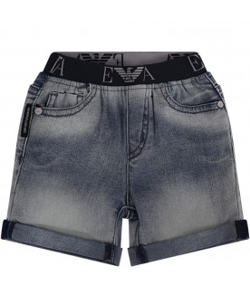 ARMANI JUNIOR   Light blue denim babyboy short with iconic logo