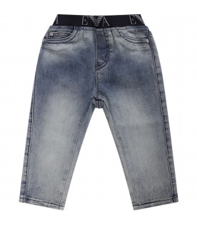 ARMANI JUNIOR   Light blue denim babyboy jeans with iconic logo