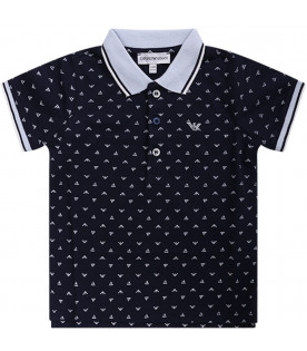 ARMANI JUNIOR   Blue babyboy polo shirt with white eagle and boat