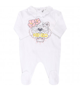 KENZO KIDS White babygirl babygrow with colorful iconic tiger