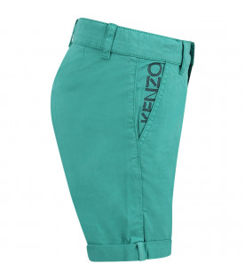KENZO KIDS Green boy short with black logo