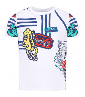 KENZO KIDS White boy T-shirt with colorful all-over tigers and nice print