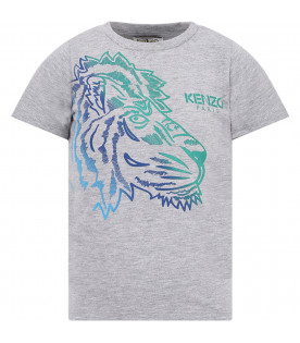 KENZO KIDS Grey boy T-shirt with colorful tiger