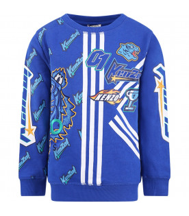 KENZO KIDS Blue boy sweatshirt with colorful iconic tiger and all-over logo