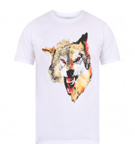MARCELO BURLON KIDS White boy T-shirt with colorful iconic wolf