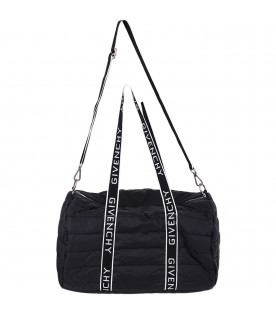 GIVENCHY KIDS Black babykids changing bag with white logo