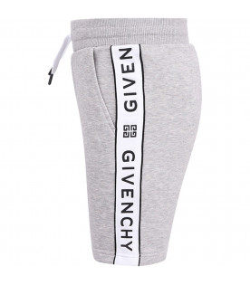 GIVENCHY KIDS Grey boy short with black rubbred logo