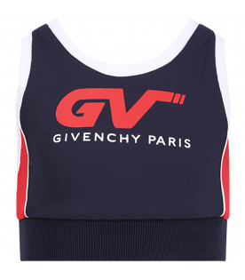 GIVENCHY KIDS Blue and red girl top with whute and red logo