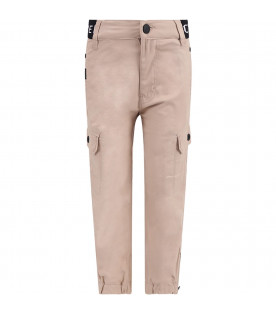 GIVENCHY KIDS Beige boy pants with black thunder