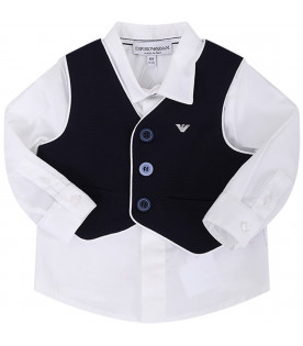 ARMANI JUNIOR   Blue and white babyboy suit with iconic eagle