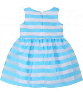ARMANI JUNIOR   Turquoise and clean babygirl dress with logo