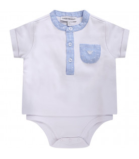 ARMANI JUNIOR   White and light blue babyboy suit with iconic eagle