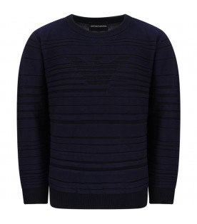 ARMANI JUNIOR   Blue boy sweater with iconic eagle