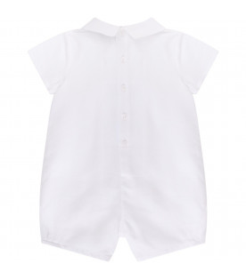 ARMANI JUNIOR   White babyboy romper with light blue eagle