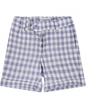 ARMANI JUNIOR   Light blue and white babyboy short with red eagle