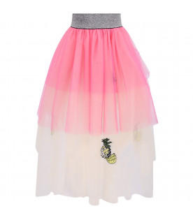 EFVVA Pink and ivory girl skirt with colorful pineapples