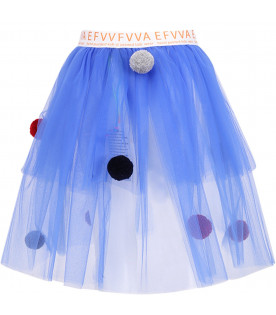 EFVVA Blue girl tutu with colorful pom-pom