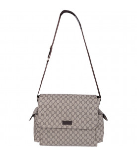 GUCCI KIDS Beige and ebony GG Supreme changing bag