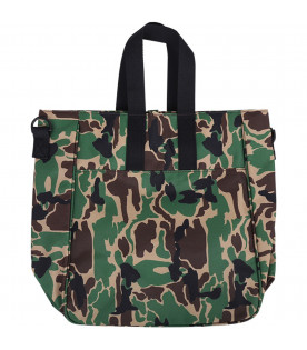 MINI RODINI Camouflage girl bag with colorful monkey