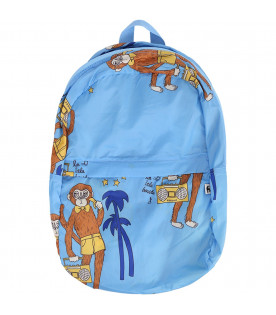 MINI RODINI Light blue kids backpack with colorful monkeys