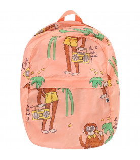 MINI RODINI Pink kids backpack with colorful monkeys