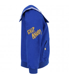 MINI RODINI Blue girl jacket with gold writing