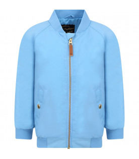 MINI RODINI Light blue boy bomber jacket with yellow banana