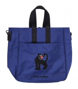 MINI RODINI Blue girl bag with black panther