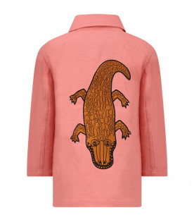 MINI RODINI Pink girl jacket with brown and black crocodile