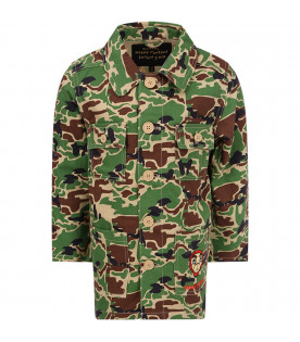 MINI RODINI Camouflage boy jacket with red logo