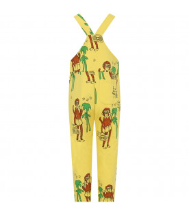 MINI RODINI Yellow kids overall with brown monkeys