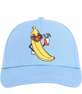 MINI RODINI Light blue kids hat with yellow banana