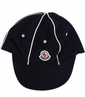 MONCLER KIDS Blue baby boy hat with white stripes