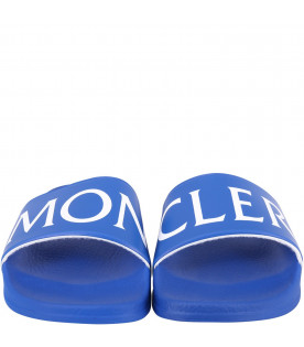 MONCLER KIDS Blue kids sandals with logo