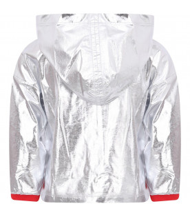 MONCLER KIDS Silver hooded girl jacket