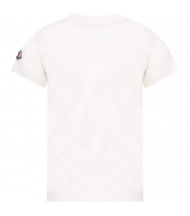 MONCLER KIDS Ivory boy t-shirt with print
