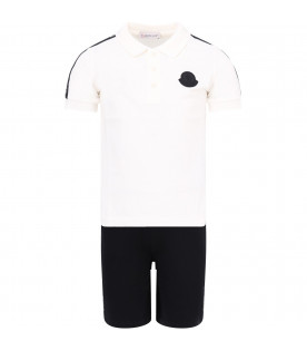MONCLER KIDS White and black boy suit with side stripes