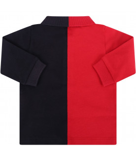 MONCLER KIDS Blue and red boy polo shirt
