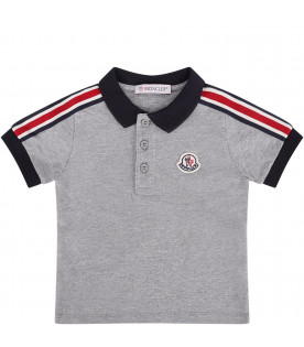 MONCLER KIDS Grey and blue baby boy suit