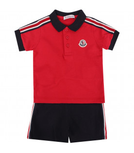 MONCLER KIDS Red and blue baby boy suit