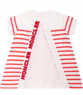 MONCLER KIDS Ivory baby girl dress with orange stripes