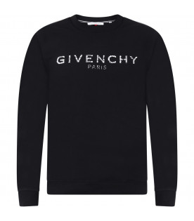 GIVENCHY KIDS Black kids sweatshirt with white logo